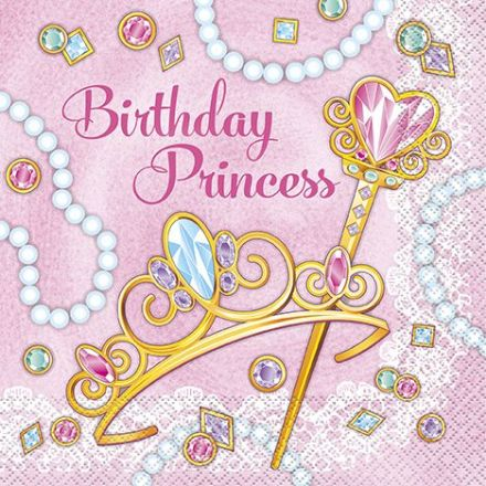 16 Birthday Princess Paper Party Napkins